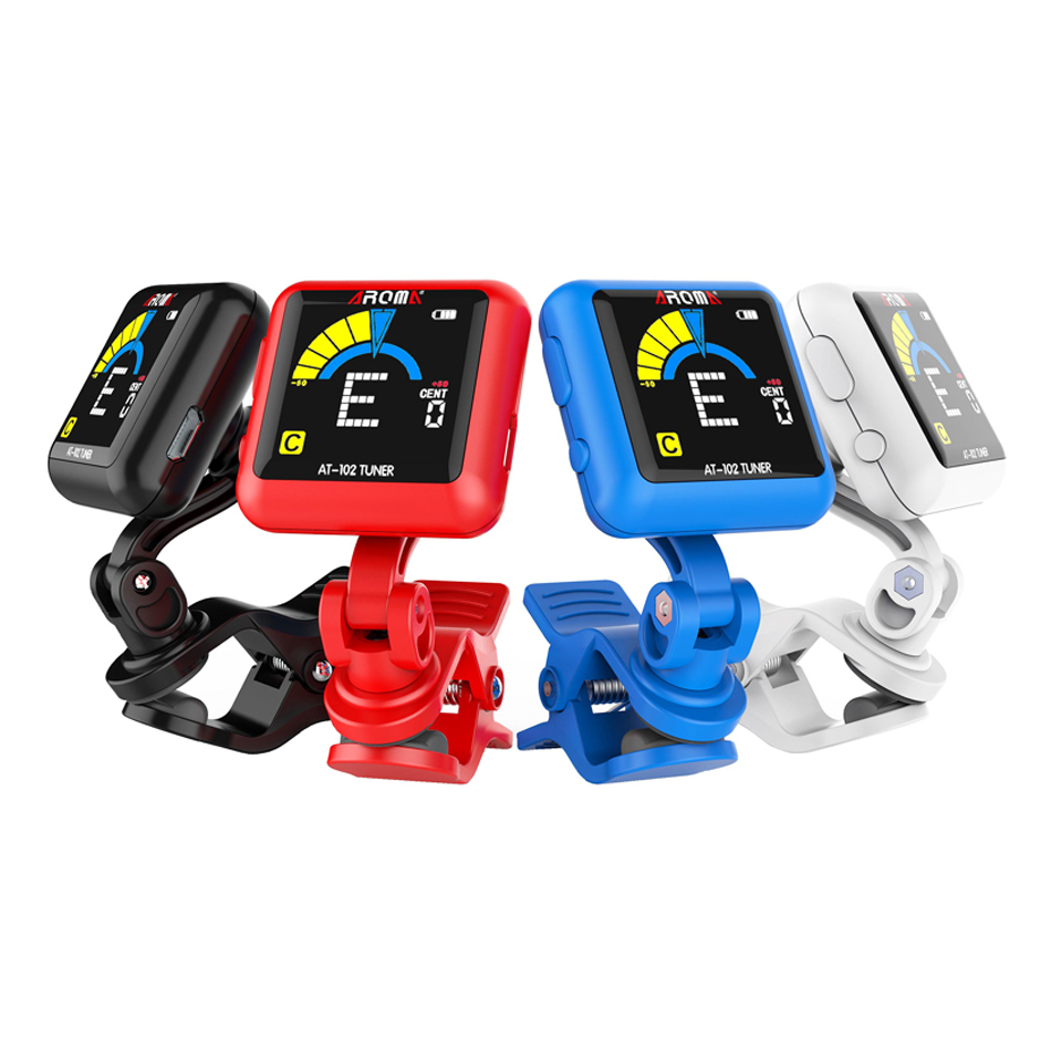 AROMA AT-102 Rechargeable Smart Rotatable Clip-on Tuner Color Screen With USB Cable for Chromatic,Guitar,Bass,Ukulele,Violin color screen guitar tuner digital tuner with clip on design for guitar ft 12c free shipping
