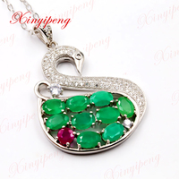Xin yi peng 925 silver inlaid natural emerald pendant necklace with ruby for woman shape of a swan