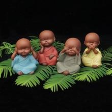 Mini young yoga monk statue decorative ceramic furnishing ar