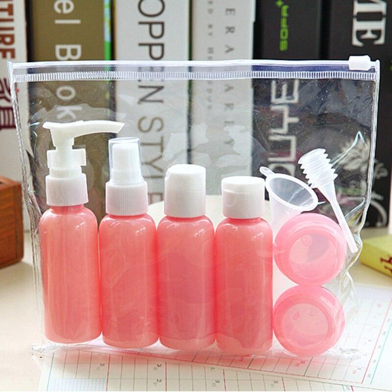 Image 4 - Garrafas de viagem recarregáveis conjunto pacote cosméticos  garrafas plástico pressionando spray garrafa maquiagem kit ferramentas  para viagem vaporizadorGarrafas reutilizáveis