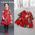 Value Baby 2 to13 age top grade Red Jacquard Girls Dress england brand kids girl summer dresses for children birthday gift NQ217