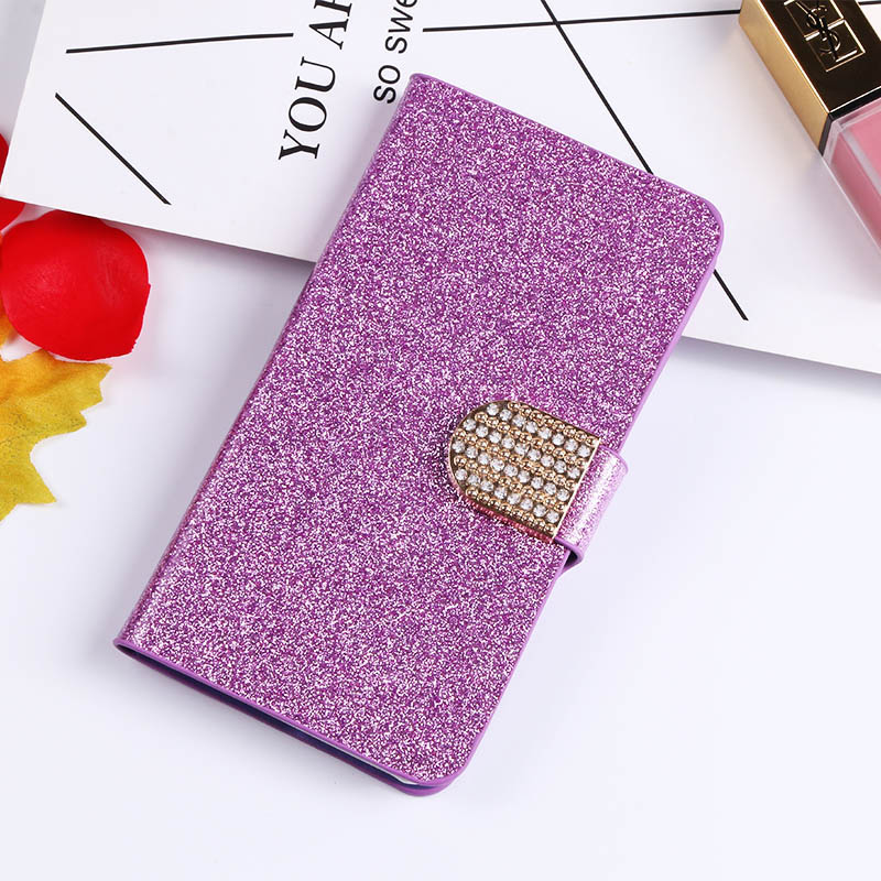 QIJUN Glitter Bling Flip Stand Case For Sony Xperia E3 E 3 D2203 D2206 D2212 Sony e3 4 5 inch Wallet Phone Cover Coque in Flip Cases from Cellphones Telecommunications