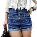 Denim High Waist Lady Straight Shorts Jeans Women Simple Design Lady Streetwear Vintage Cuffed Pants Slim Trousers Girl Dec30