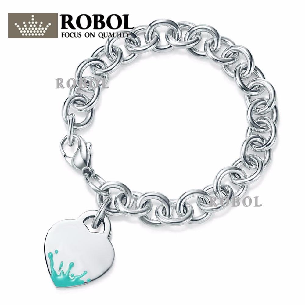 925 En Argent Sterling De Mariage Partie Tiff Bracelets Vert Enamelw Bracelet Fit Femmes En Forme de Coeur Bracelet classique Copie Bijoux