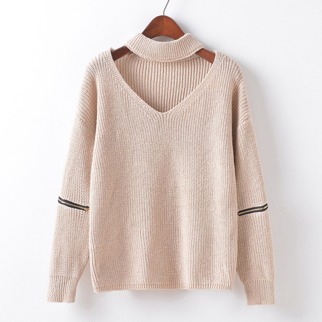 db77c6c4e4daa 2018 New Arrival Fashion Women Winter Knitted Sweater Girl oversized  pullover Sweaters V-neck Female Pull Femme knitwear coat