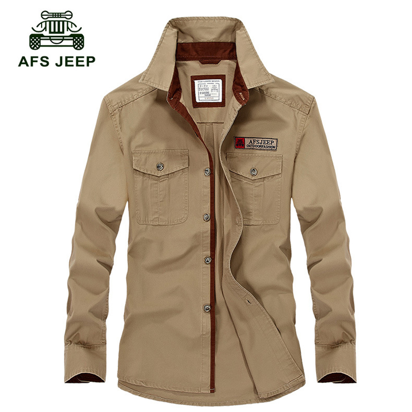 AFS Jeep Men Long Sleeve Shirt Men Brand Clothing 2018 Spring Summer Military Mens Shirts Casual Shirt Homme Plus Size S-5XL