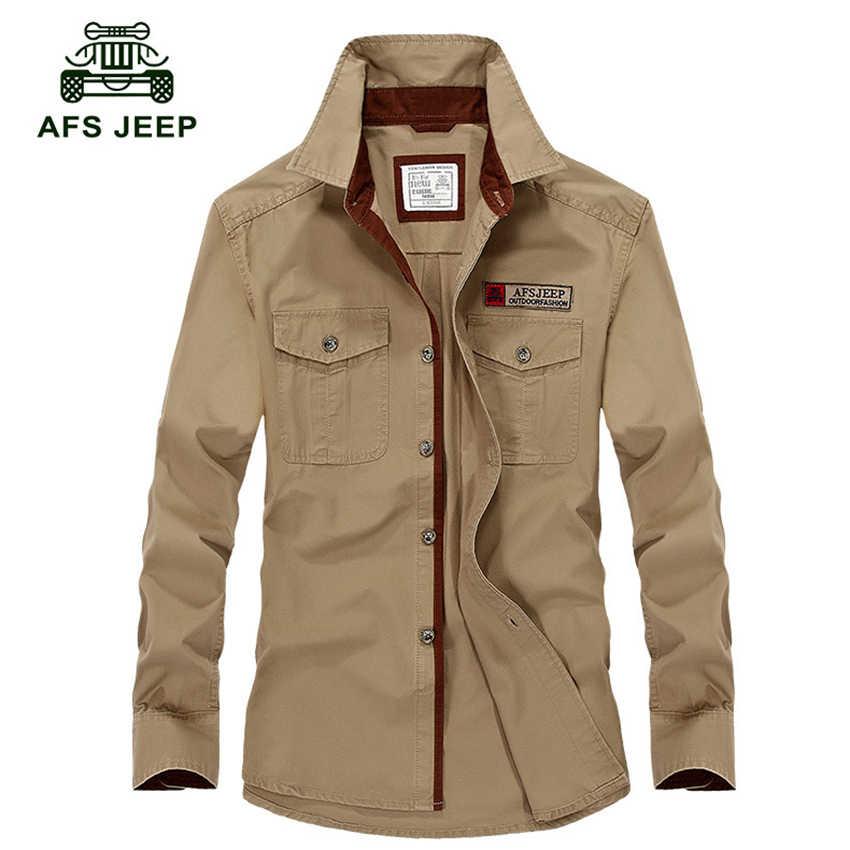 Afs jeep男性長袖シャツ男性ブランド服2018春夏ミリタリーメンズシャツカジュアルシャツオムプラスサイズs-5xl