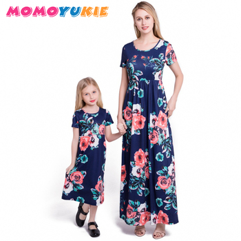 2018 Mommy and me family matching mother daughter dresses clothes striped mom and daughter dress kids parent child outfits look