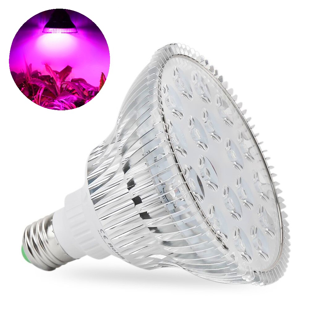 (2pcs/Lot) E27 54W AC85-265V Red+Blue Led Grow Lights For Indoor Hydroponics Flowering Plant Greenhouse Growth Lamp 1pc led grow lights e27 15w 3 red 2 blue for flowering plant and hydroponics greenhouse led lamp full spectrum free shipping