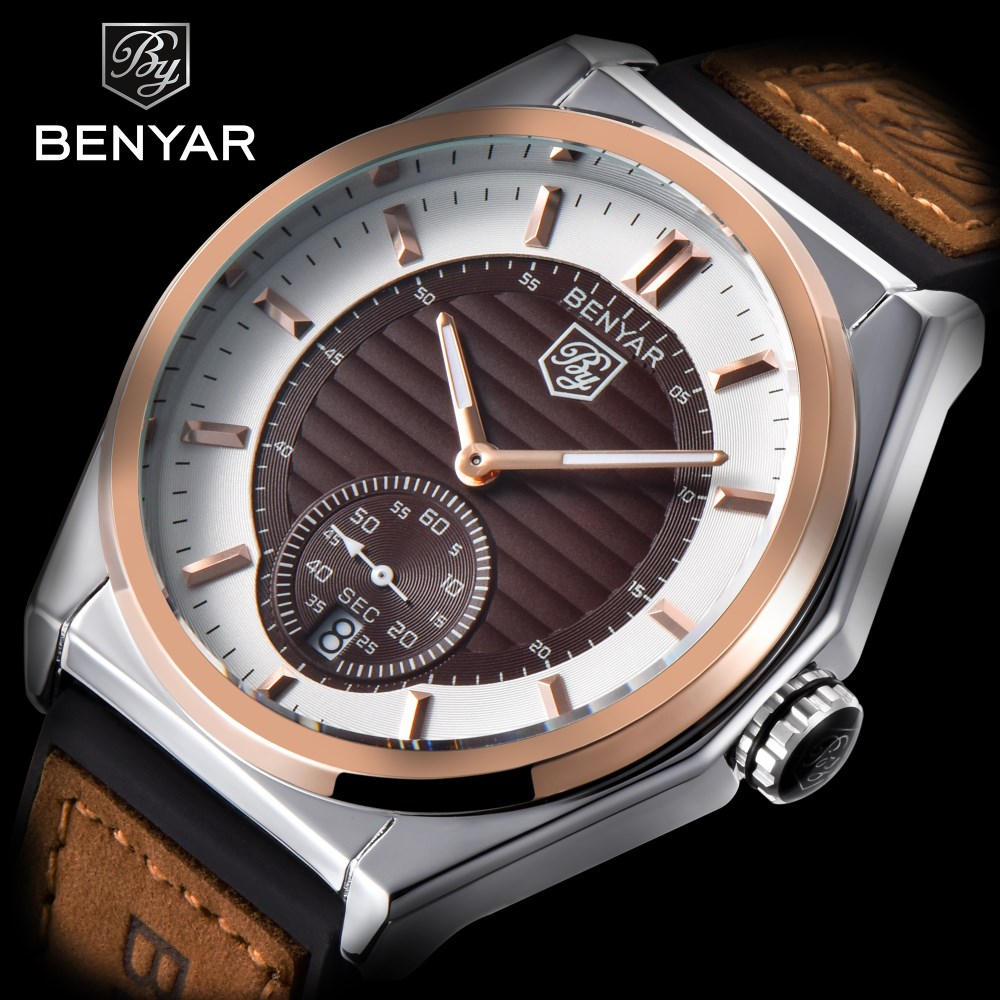2018 BENYAR Luxury Brand Watch Men Military Sport Waterproof Leather Watches Reloj Hombre Outdoor Quartz Clock Relogio Masculino casima luxury brand sport quartz watches men reloj hombre fashion silicone band100m waterproof men watch montre homme clock