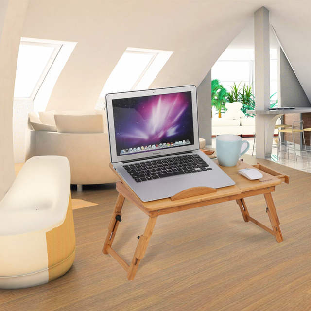 Adjule Computer Desk Portable Bamboo Laptop Folding Table Stand Notebook Sofa Bed