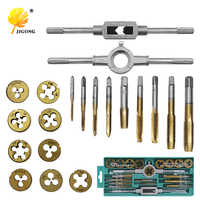 20pcs/set Tap Dies Set NC Screw Thread M3-M12 Plugs Taps Titanium plating Hand Screw Taps Hand Tools