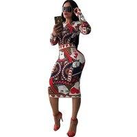 Многоцветный принт Новинка бинты Bodycon платье Для женщин с круглым вырезом и длинными рукавами до колена повседневные платья Элегантный тон...