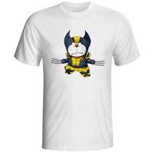 Doraemon Crossover Logan Anime Cartoon T Shirt Design Parody Funny T-shirt Cool Novelty Geek Tshirt Style Men Fashion Tee