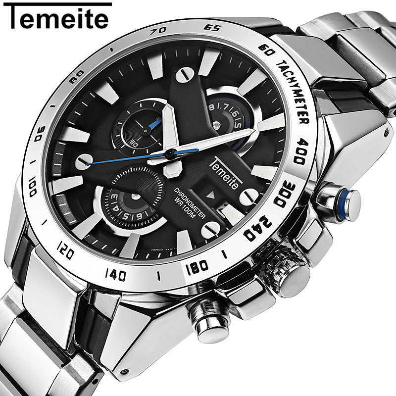 Temeite 2018 Men Business Watch Waterproof Luxury Fashion Quartz Watches Men's Chronograph Date Military Male Clock Relogio Gift