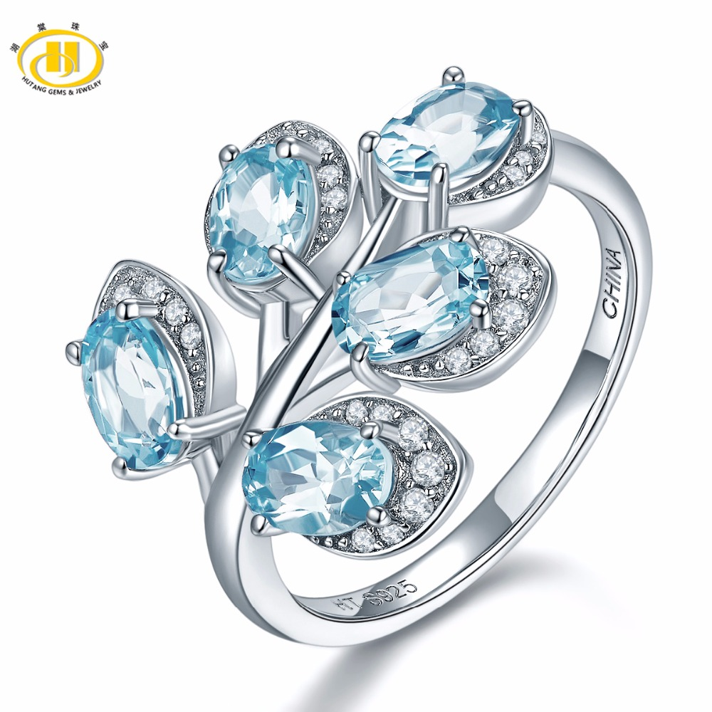 Hutang Natural Gemstone Sky Blue Topaz Rings Solid 925 Sterling Silver Leaf Ring Fine Jewelry Elegant Design for Women Gift New