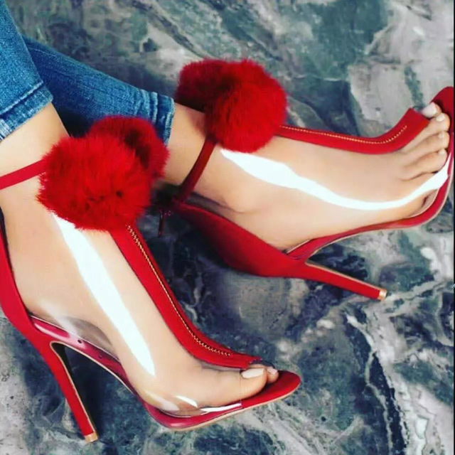 1f108c7df71 US $64.99 |P Clear Ankle Boots Lucite Open Toe Stilettos Red Lovely Pom Pom  Heels Plastic Zip Short Booties Summer PVC Heels-in Ankle Boots from Shoes  ...