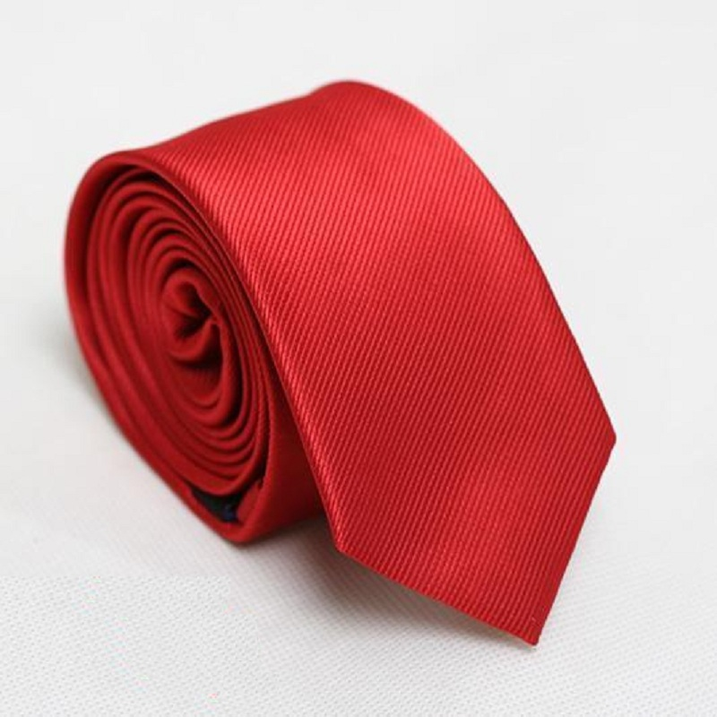 पुरुषों की पतली टाई लाल गर्दन पतली टाई ठोस संकीर्ण नेकटाई 6 सेमी चौड़ाई