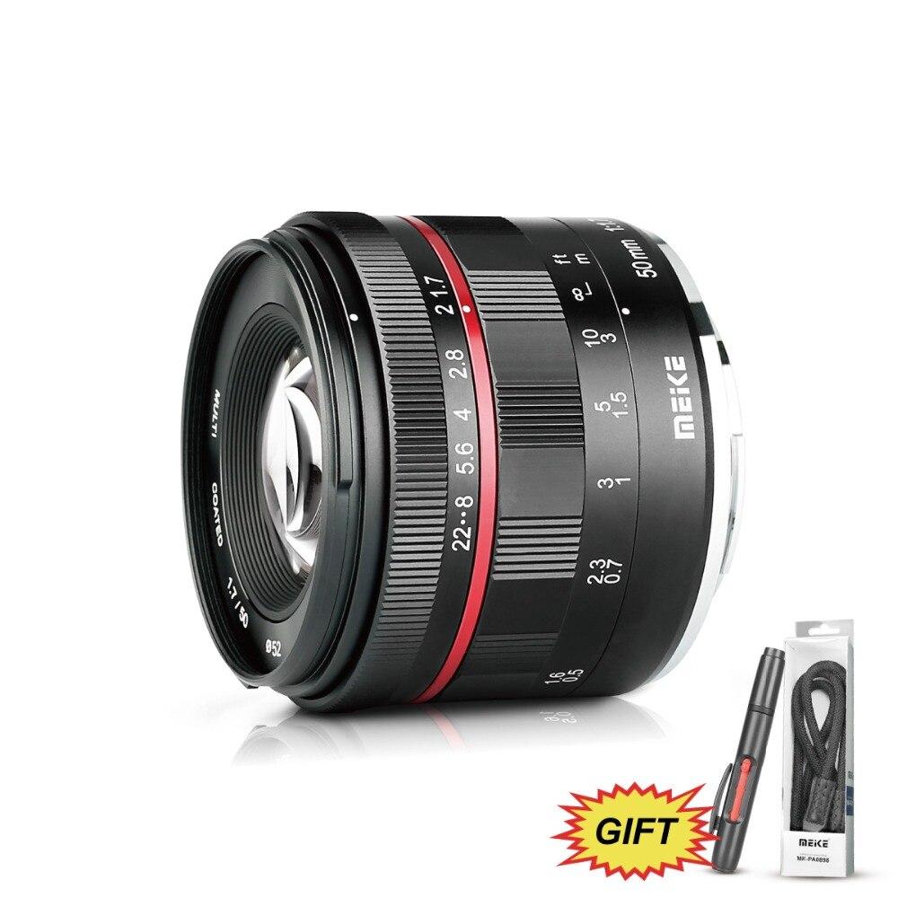 Meike MK 50mm f/1,7 de gran apertura lente de enfoque Manual para Sony E-mount Mirrorless CamerasA6300 A6000 a5100 con completa marcos/APS-C