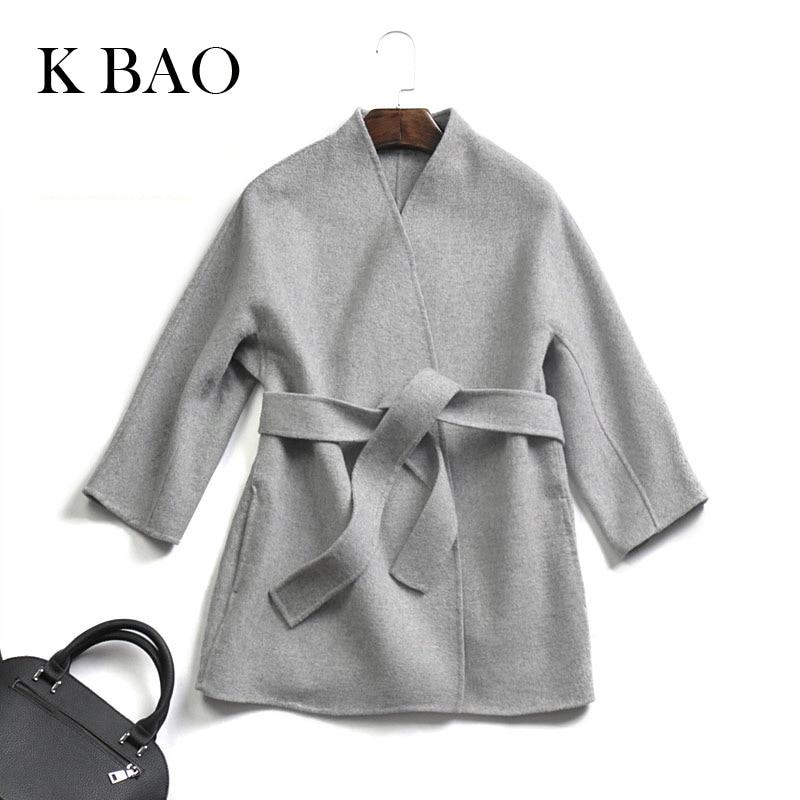 Female coats High Quantity autumn and winter handmade double sided cashmere coat women's jacket with belt Short coats