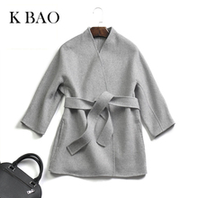 Female coats High Quantity autumn and winter handmade double sided cashmere coat women's jacket with belt Short coats