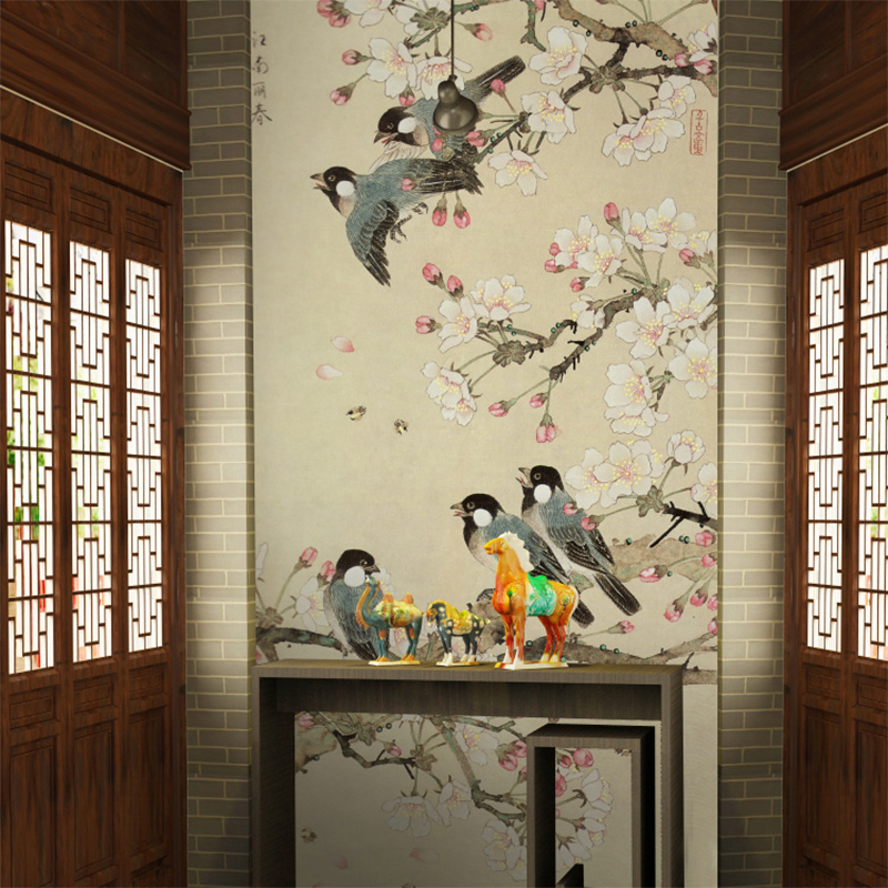 Free Shipping large living room entrance mural wallpaper Chinese classical bird wallpaper  free shipping chinese ink classical retro wallpaper mural living room tv room wallpaper