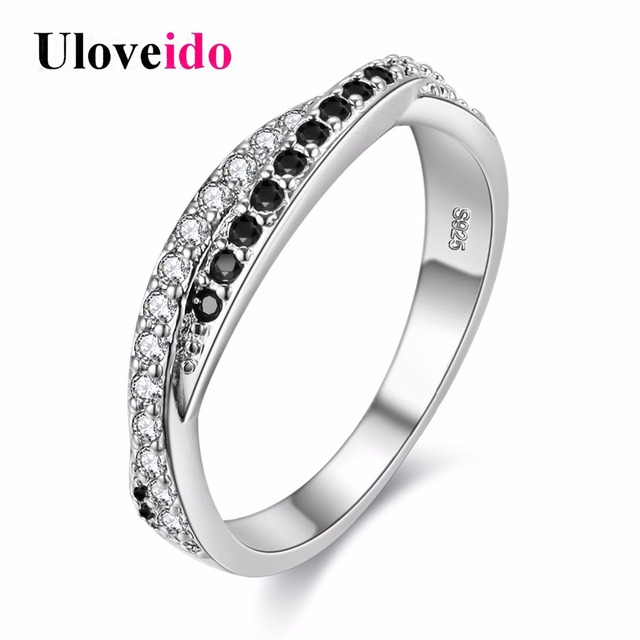 Uloveido Double Lines Cubic Zirconia Ring Wedding Accessories Rings for Women White Black Ring 2017 Jewelry Bague Anillos Y022