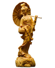 Chinese Classical cheongsam Beauty sculpture Folk hand carving statue wall home decor lucky decoration accessories