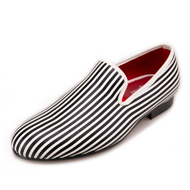 Black and white Striped printing men loafers wedding and party men's smoking slippers  4