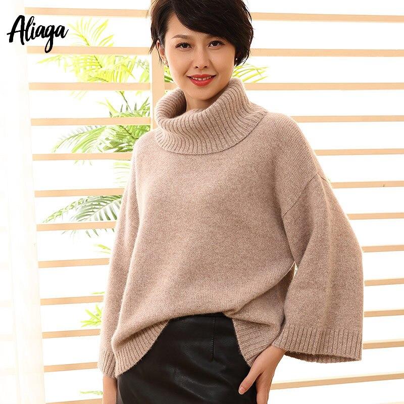 Оптовая продажа 100% кашемир Монголия зима свитер с воротником для женщин пуловер вязаный s Flare рукавом плотные комбинезоны топы корректирующ