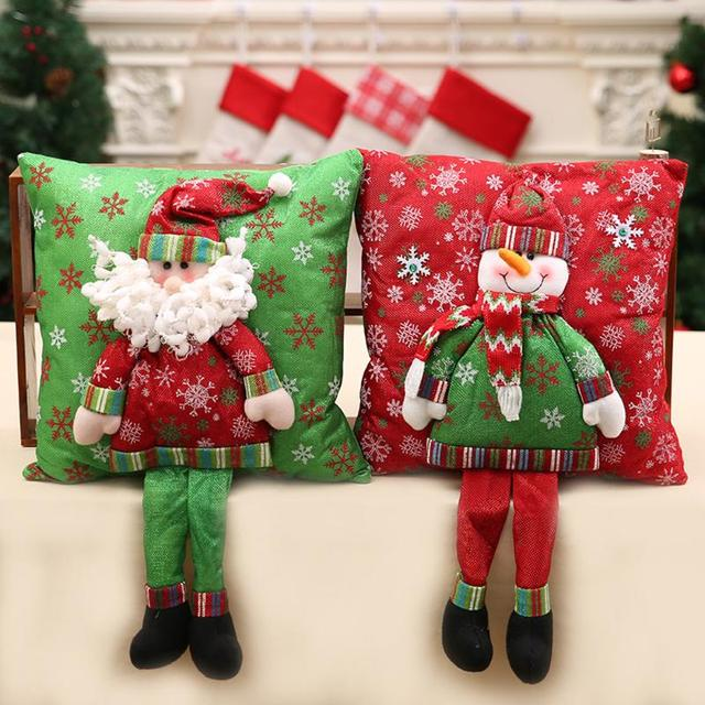 Christmas 3D Cushion Santa Claus Cushion With Legs Christmas Decorations  For Home Xmas Bedroom Sofa Ornament