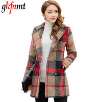 2018 Women Plaid Coat Autumn Winter Long Jacket Female Turn Down Collar Blends Woolen Warm Slim Overcoat Femininos Clothing