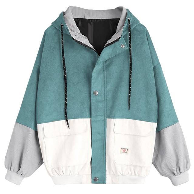 Vintage Patchwork Oversize Casual Jacke Cord Frauen Wipalo Harajuku dHq5pnxdAw