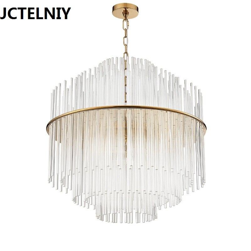 Americký styl luxusní jednoduché evropské křišťálové lampy sklo krátký obývací pokoj led přívěsek světla dia50 / 68cm