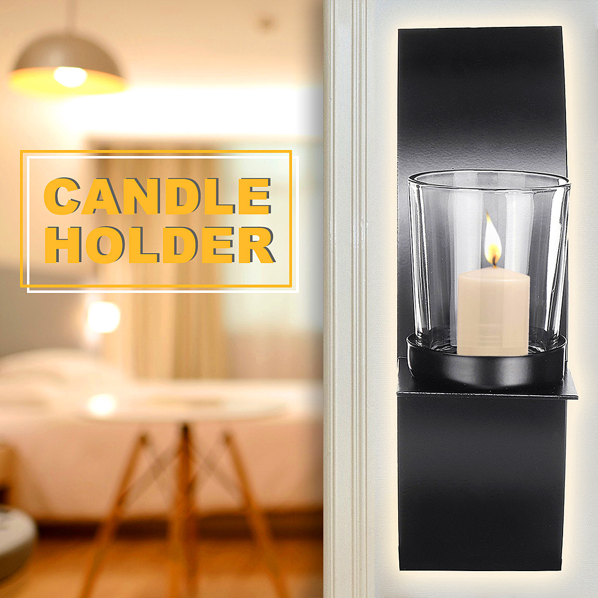 One Pair Metal Candle Holder Black Wall Mounted Sconce ...