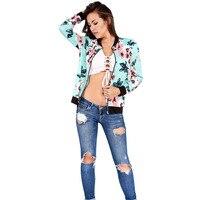 Floral Printed Women Jacket Long Sleeve Casual Zipper Jacket Coats 2017 Autumn Zipper Casual Jackets Outwear Women Basic Coats 3