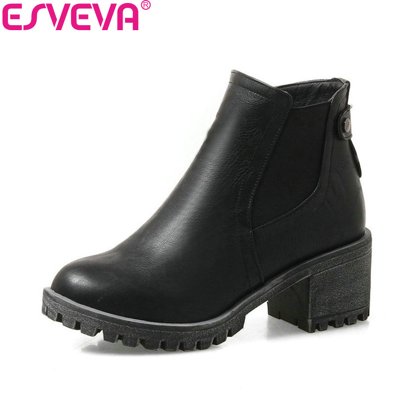 ESVEVA 2018 Out Door Women Boots Black Square High Heels Short Plush Ankle Boots Western Style Zipper Ladies Shoes Size 34-43 nikove 2018 women boots western style ankle boots square high heels pointed toe short plush pu blue ladies boots size 34 42