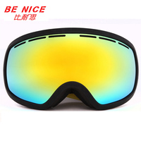 BENICE Brand Ski Goggles Men Women Winter Ultra Wide Spherical Double Layer Anti Fog Accommodate Myopia