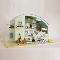 DIY Model Doll House Casa Miniature Dollhouse with Furnitures LED 3D Wooden House Toys For Children Gift Handmade Crafts A016 #E