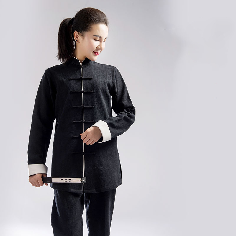 Autumn And Winter Thickening Tai Chi Uniform Men Women Cotton Flax  Martial Art Practice Clothes