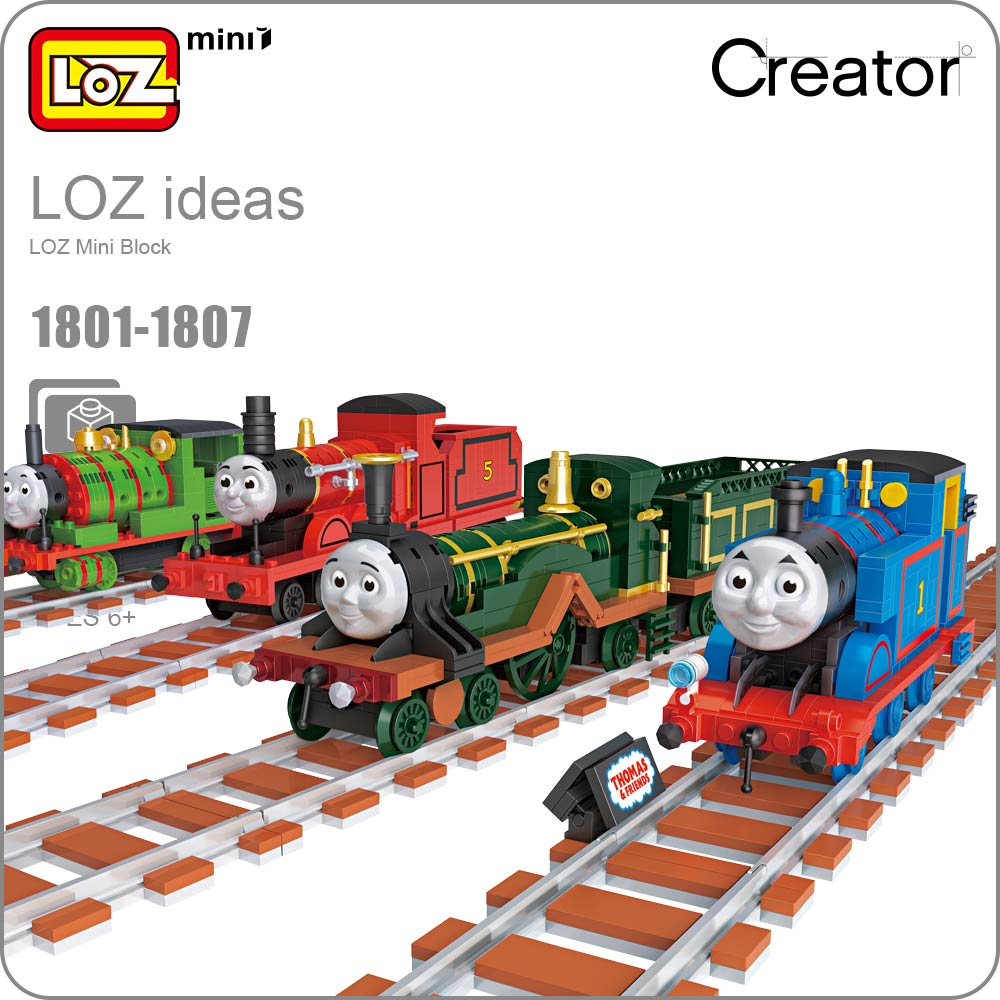 LOZ Mini Blocks Train Track Bricks Building Blocks Friends Assembly Toys Car Assembly Model Christmas Birthday Gift 1801-1807