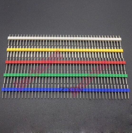 200 шт./лот 2,54 мм один ряд иглы разъем Pin Заголовок белый/желтый/красный/зеленый/голубой цвет 1*40 P ...