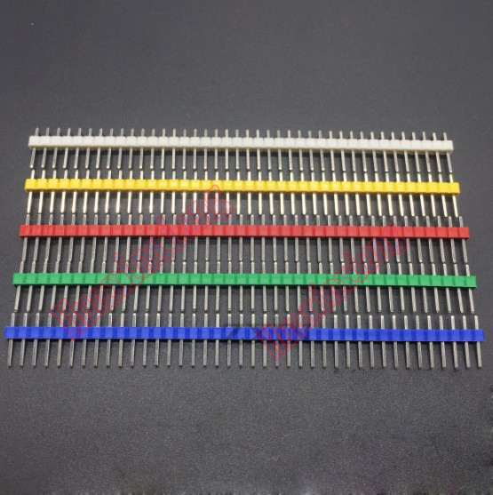 200PCS/Lot 2.54MM Single Row Needle Connector Male Pin Header White/Yellow/Red/Green/Blue Color 1*40P