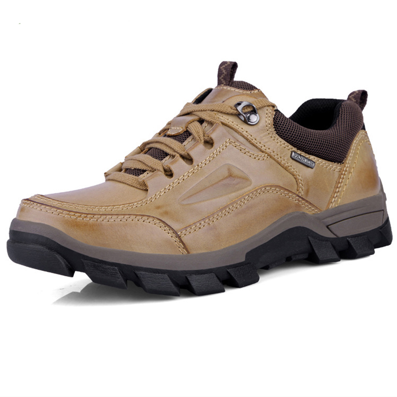 2018 Big Size Men s Genuine Leather Outdoor Hiking Trekking Shoes Sneakers For Men Rock Climbing