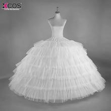 6 Обручи 6 слоев бальное платье юбки белый кринолин нижняя большой рюшами Свадебные Аксессуары Тюль нижние