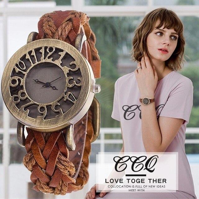 CCQ Brand Fashion Hollow Out Watch Casual Women Men Leather Bracelet Watch Vinta