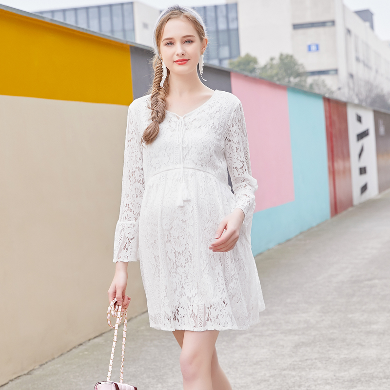 New Europe New 2018 Spring Summer Pregnant Women Causal Sexy V Neck Long Flare Sleeve Hollow Out Lace Dress Maternity Clothes sexy plunging neck 3 4 sleeve hollow out tassels embellished cover up for women