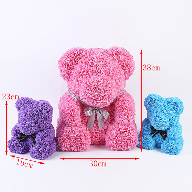 Bear Shape Artificial Rose Flowers For Wedding Party Valentines Day