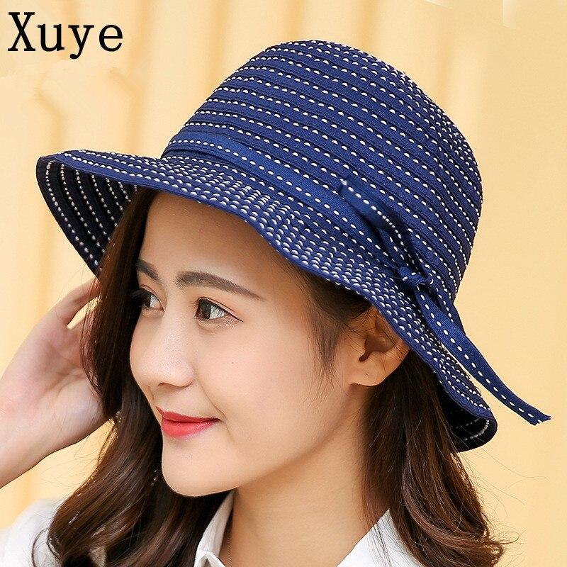 XUYE fashion cotton summer breathable sunscreen Bow tie wide brim hats girls lady beach headwear bucket hat ladies cap for women