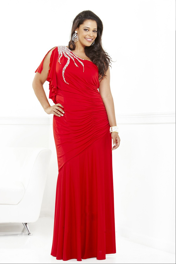 2014 Hot Sale Big Size Elegant Red Color Ruffle A line Beaded Turkish Ebay  Evening Dress for Fat Women-in Evening Dresses from Weddings   Events on ... 24c2ff52d51e